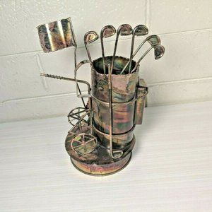 Vintage Copper Golf Clubs Sculpture Music Box